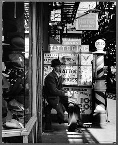 The Bowery showing some tattooing place 1930's. New York City.---my fave place in my fave time period. (Sigh)