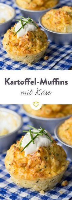 The hearty muffins are the ideal side dish for hearty home cooking. Pinner Kartoffel-Käse-Muffins Im Simple Muffin Recipe, Healthy Muffin Recipes, Healthy Muffins, Veggie Recipes, Baby Food Recipes, Savory Muffins, Muffins Sains, Cheese Muffins, Pizza Muffins