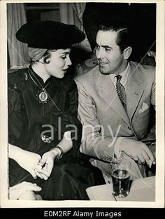 Download this stock image: May 11, 1953 - Tyrome Power and Wire Linda Christian Hold Press Conference in Rome. Photo shows Screen star Tyrone Power seen wi - E0M2RF from Alamy's library of millions of high resolution stock photos, Stock Photo, illustrations and vectors.