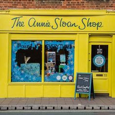 Annie Sloan's shop in Oxford, UK,  with its new cheery winter coat of English Yellow Chalk Paint®!