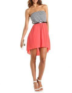 Belted Chevron Stripe Hi-Low Dress