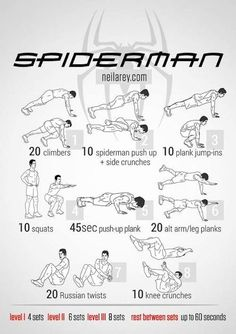 Tryout this Spiderman workout routine. Perfect to lose weight and get fit without going to the gym! Workout Without Gym, Gym Workout Tips, Workout Challenge, Workout Videos, Total Ab Workout, Ultimate Workout, Total Abs, Hero Workouts, At Home Workouts