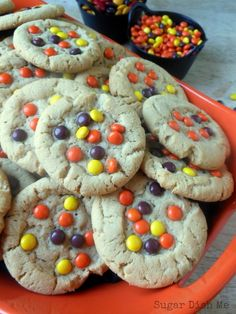 Reese's Pieces Peanut Butter Cookies - these are quite tasty, but only need to bake for 6.5 mins instead of the 9 it said. First two trays didn't end up too good, but the last 1.5 trays were perfect