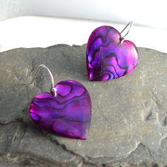 Abalone Shell Earrings, Purple Paua Heart Jewelry