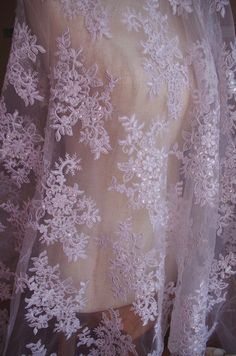 white cord lace fabric sequined lace fabric bridal by LaceFun