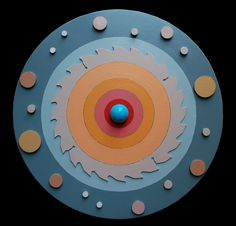 """""""Teoria copernicana"""" legno dipinto e materiali vari, cm 38x38, 2012"""