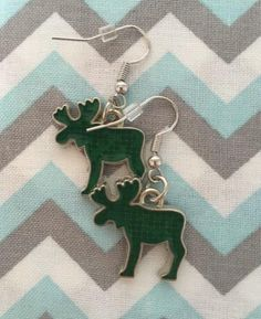 Enamel Green MOOSE Earrings Fish Hook Dangle Earring Girl | Etsy Fish Hook Earrings, Girls Earrings, Dangle Earrings, Unisex Gifts, Happy Shopping, Moose, Jewerly, Dangles, Enamel