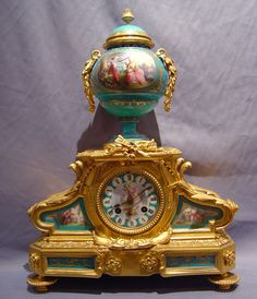 French blue porcelain and ormolu clock, 1880
