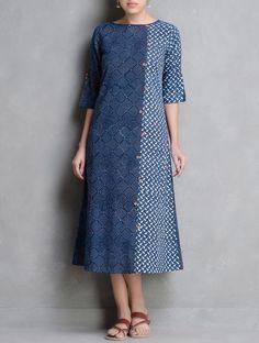 Buy Indigo Ivory Coral Dabu Printed Button Detail Cotton Dress by Indian August Apparel Tops Kurta Patterns, Dress Patterns, Kurta Designs Women, Blouse Designs, Dress Designs, Linen Dresses, Cotton Dresses, Mode Simple, Batik Fashion