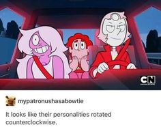 Post image>>> it looks like their personalities rotated counterclockwise, Steven universe, Steven, amethyst, pearl I think about this image a lot Steven Universe Funny, Amethyst Steven Universe, Steven Universe Theories, Steven Universe Ships, Steven Univese, Lapidot, Universe Art, Cartoon Shows, It Goes On