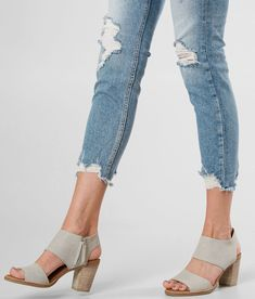 TOMS Majorca Heeled Sandal - Women's Shoes in Drizzle Grey Leather | Buckle