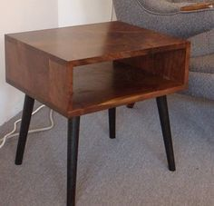 Mid century style walnut side table by jeremiahcollection - modern - nightstands and bedside tables - by Etsy