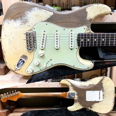This one is off to @wildwoodguitars #roasted #heavy #relic #aged #olyimpic #white #fender #fendercustomshop #stratocaster