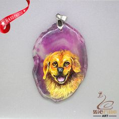 HAND PAINTE DOG PENDANT FOR NECKLACE GEMSTONE WITH SILVER BAIL ZL807467 #ZL #Pendant