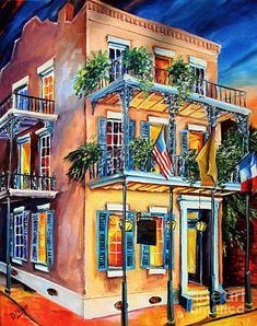 French Quarter Wall Art - Painting - New Orleans' La Fitte's Guest House by Diane Millsap New Orleans Art, New Orleans Homes, Gouache, New Orleans French Quarter, La Art, Thing 1, Beautiful Artwork, House Painting, Home Art