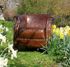 Vintage Leather Tub Chair.  £795.  Our best selling occasional chair.  Great vintage style leather with studding.
