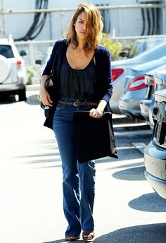 Jessica Alba wearing Goldsign Jerry Jeans in Lisette