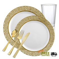 Inspiration GRAND White and Gold Party Package. Disposable PlatesGold ...  sc 1 st  Pinterest & Posh Party Supplies - White with Gold Rim Round Plates - Combo Value ...