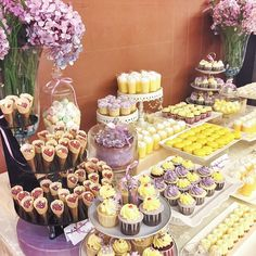 @shaunteocreations: Purple and yellow wedding dessert table