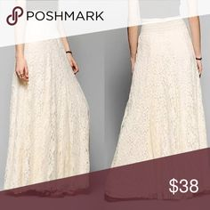 "LACE Smocked Waist MAXI SKIRT NEW BRAND NEW!! Lace Full-Length Maxi SKIRT with delicate floral pattern + smocked elastic waistband for a comfortable + flattering fit. High waist fit. Fully-Lined. Off-white. Pls note: this is an austin gal boutique item. 🌟Similar  style by Free People.🌟  S: Waist: 24.4-33.9""/Length: 41.2"" M: Waist: 25-34.8""/Length: 41.6"" L: Waist: 25.9-35.4""/Length: 42""  🌟Item is Brand New, direct from the Manufacturer, & Sealed in Pkg.🌟 austin gal Skirts Maxi"