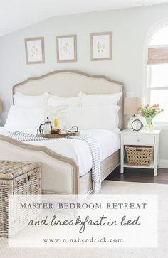 Gorgeous neutral New England master bedroom. Love that pretty headboard!