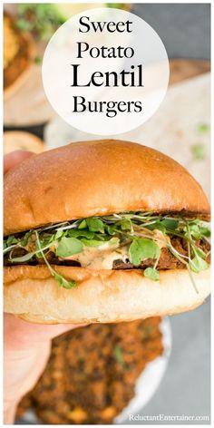 Lentil Veggie Burger, Sweet Potato Veggie Burger, Sweet Potato Patties, Sweet Potato Recipes, Sweet Potato Lentil Recipe, Best Lentil Burger Recipe, Veggie Food, Lentil Bread Recipe, Veggie Meals