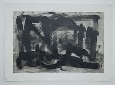 Black & White Gestural Abstract Painting - in Black
