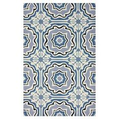 Hand-hooked wool rug with tile motif.    Product: RugConstruction Material: 100% WoolColor: Blue and creamFeatures: Hand-hookedNote: Please be aware that actual colors may vary from those shown on your screen. Accent rugs may also not show the entire pattern that the corresponding area rugs have.Cleaning and Care: Spot treat with a mild detergent and water.  Professional cleaning is recommended if necessary.