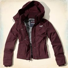 The Hollister All-Weather Jacket - I wish to have a burgundy coat. This might be it.