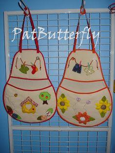 avental para prendedor de roupas - Pesquisa Google Peg Bag, Apron, Patches, Sling Bags, Quilts, Sewing, Handmade, Crafts, Craft Tables