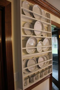 Custom Plate Rack / Holder Perfect for a farmhouse kitchen, cottage dining room, any where you need to add storage. Each shelf is apx 10 Plate Rack Wall, Diy Plate Rack, Plate Shelves, Plate Holder, Plates On Wall, This Old House, Charleston South Carolina, Wine Glass Storage, Dish Display
