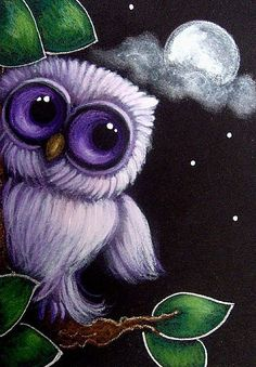 Art: VIOLET BABY OWL CLOUDY MOON by Artist Cyra R. Cancel