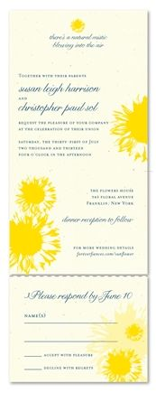 Sunflower Wedding Invitations - Happy Yellow flower