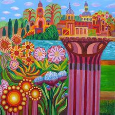 """""""Colonnes florales"""" par Michel Barbette (Pastel) - http://www.artistes-mussipontains.fr/galerie/michel-barbette/"""