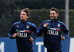 Manuel Locatelli (L) and Roberto Gagliardini of Italy in action during the training session at the club's training ground at Coverciano on February 21, 2017 in Florence, Italy.