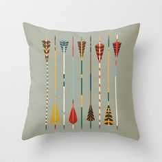Vintage Arrows Throw Pillow by Jackie Sullivan - $20.00