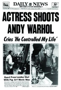 June Pop artist Andy Warhol is shot by Valerie Solanas in New York City. New York Pictures, Old Pictures, Andy Warhol Shot, Scum Manifesto, Edie Sedgwick, Psychology Major, Levels Of Understanding, New York Daily News, Human Connection