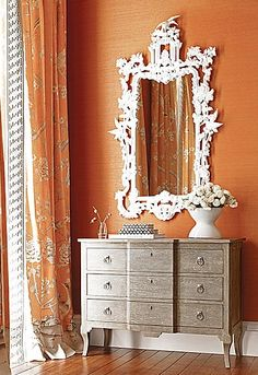 Mary McDonald for Schumacher;  love the fabrics, but love the finish on the cabinet just as much!
