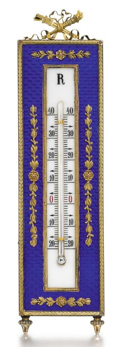 A FABERGÉ GOLD-MOUNTED SILVER-GILT AND ENAMEL THERMOMETER, WORKMASTER VICTOR AARNE, ST PETERSBURG, 1899-1908 |