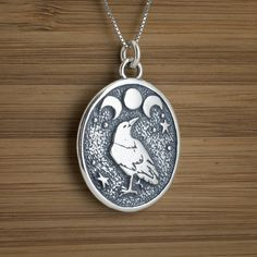 Raven and Triple Moon Pendant - STERLING SILVER - (Just the pendant, chains are sold separately.)