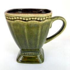 "Roscher Oversized Avocado Green Stoneware Footed Coffee Tea Cup Mug 5"""