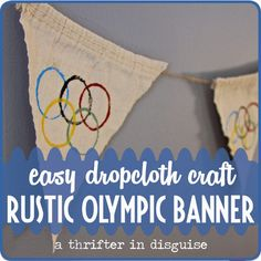 DIY Rustic Olympic Banner - make the rings with toilet paper rolls and teach your kids about the Olympics (link in post). Kids Olympics, Special Olympics, Summer Olympics, Olympics Facts, Olympic Idea, Olympic Games, Camping Games, Camping Crafts, Zumba