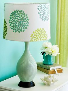 DIY- Easy stencil lampshade. How to make this project: http://www.midwestliving.com/homes/decorating-ideas/quick-easy-paint-projects/