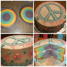 Peace sign,rainbow Birthday cake.i like the inside!