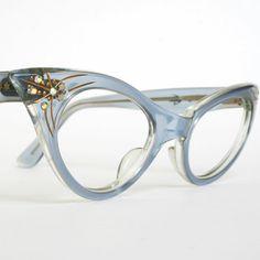 Vintage Cat Eye Glasses Translucent Blue with Rhinestones