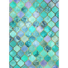 Cool Jade Icy Mint Decorative Moroccan Tile Pattern Art Print ($16) ❤ liked on Polyvore featuring home, home decor and wall art
