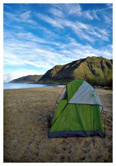 Beach camping. Oahu,