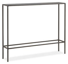 A Room & Board classic, the Slim console table collection offers a balance of grace and strength. Natural steel gives weight to a delicate handcrafted design that features subtle weld marks unique to each piece.