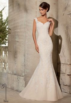 5316 Wedding Gowns / Dresses Alencon Lace Appliques on Net- Shown with Removable Tulle Overskirt #11076, Sold Separately