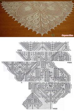 TRIANGULAR OPTION of the SHAWL HANNELORE - the Country of Mothers Doilies, Mothers, Shawl, Country, Knitting, Lace, Women, Fashion, Projects